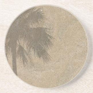 Palm Tree Shadow on Beach Sand Background - Palms Coaster