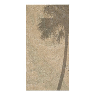 Palm Tree Shadow on Beach Sand Background Palms Photo Greeting Card