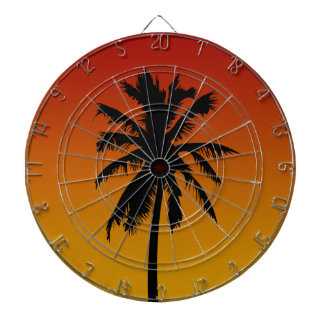 Palm Tree Silhouette Beach Theme Dart Board