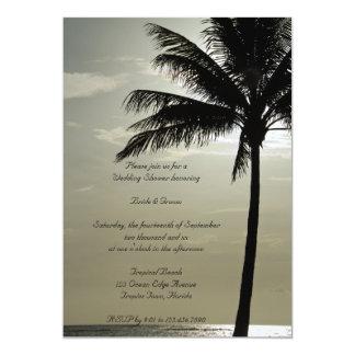 "Palm Tree Silhouette Beach Wedding Shower 5"" X 7"" Invitation Card"