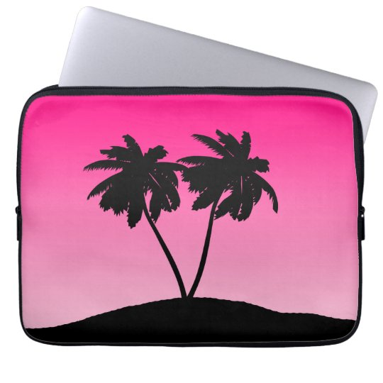 Palm Tree Silhouette on Dawn Pink Laptop Computer Sleeves