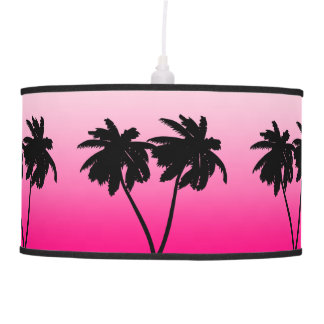 Palm Tree Silhouette on Dawn Pink Pendant Lamp