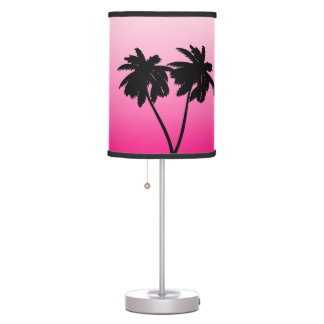 Palm Tree Silhouette on Dawn Pink Table Lamp