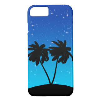 Palm Tree Silhouette on Evening Blue with Stars iPhone 8/7 Case