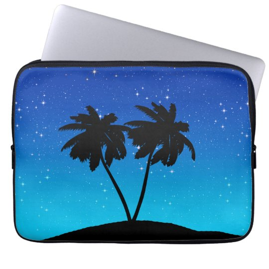 Palm Tree Silhouette on Evening Blue with Stars Laptop Computer Sleeves