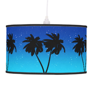 Palm Tree Silhouette on Evening Blue with Stars Pendant Lamp