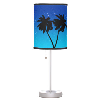 Palm Tree Silhouette on Evening Blue with Stars Table Lamp