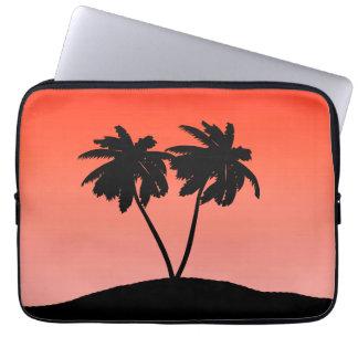 Palm Tree Silhouette on Sunset Orange Laptop Sleeve