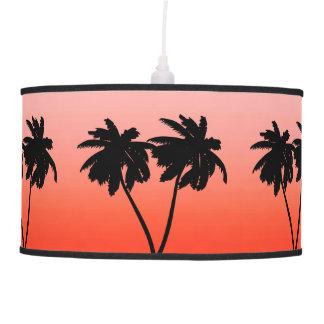 Palm Tree Silhouette on  Sunset Orange Pendant Lamp