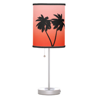 Palm Tree Silhouette on  Sunset Orange Table Lamp
