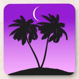 Palm Tree Silhouette on Twilight Purple Coaster