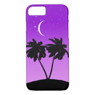 Palm Tree Silhouette on Twilight Purple iPhone 8/7 Case