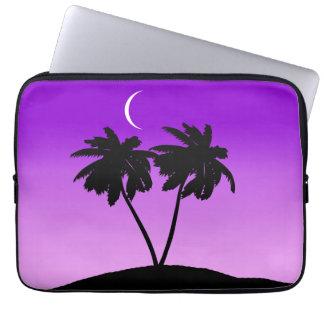 Palm Tree Silhouette on Twilight Purple Laptop Sleeve