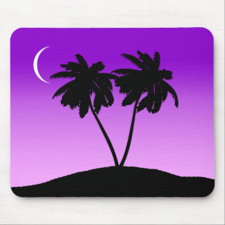 Palm Tree Silhouette on Twilight Purple Mouse Pad