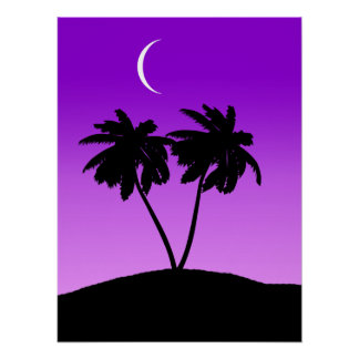 Palm Tree Silhouette on Twilight Purple Poster