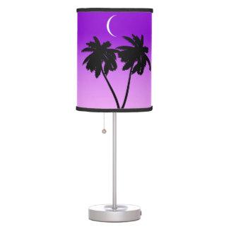 Palm Tree Silhouette on Twilight Purple Table Lamp
