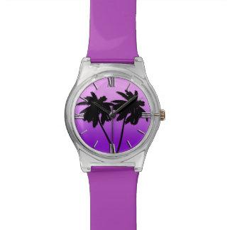 Palm Tree Silhouette on Twilight Purple Watch
