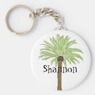 Palm Tree Sketch Basic Round Button Keychain