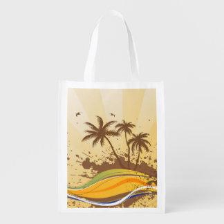 Palm Tree Splash Reusable Grocery Bag