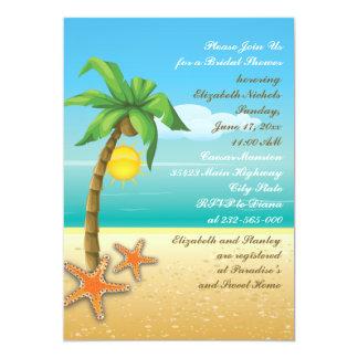 "Palm tree & starfish beach wedding bridal shower 5"" x 7"" invitation card"