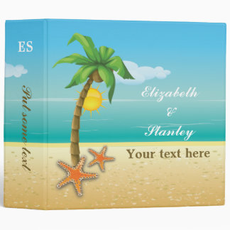 Palm tree & starfish beach wedding planner binder