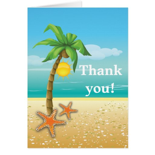 Palm tree & starfish beach wedding Thank You Greeting Card
