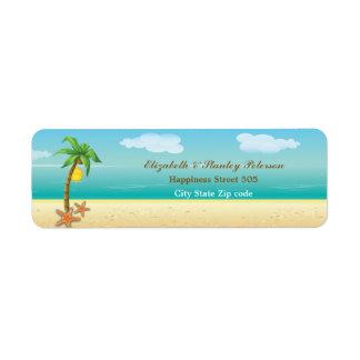 Palm tree & starfish tropical beach wedding label return address label