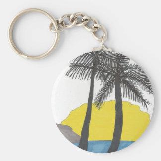 Palm Tree Sunrise Basic Round Button Keychain