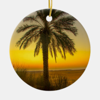 Palm Tree Sunrise Ceramic Ornament