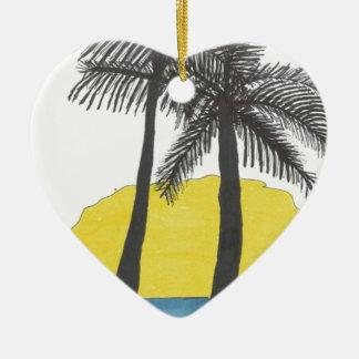 Palm Tree Sunrise Ceramic Ornament
