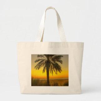 Palm Tree Sunrise Large Tote Bag