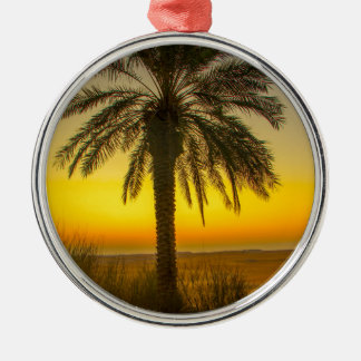 Palm Tree Sunrise Metal Ornament