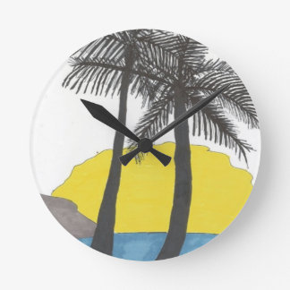 Palm Tree Sunrise Round Clock
