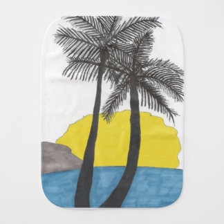 Palm Tree Sunrise Silhouette Burp Cloth