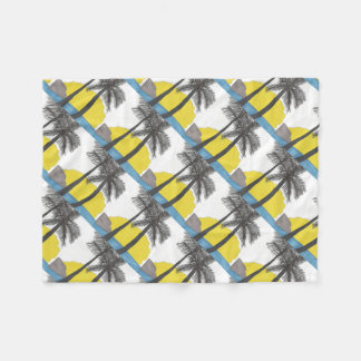 Palm Tree Sunrise Silhouette Fleece Blanket