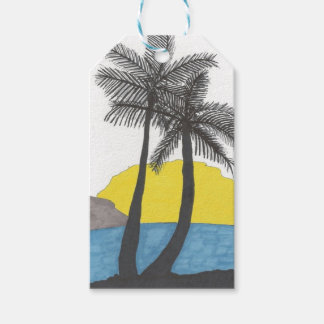 Palm Tree Sunrise Silhouette Gift Tags