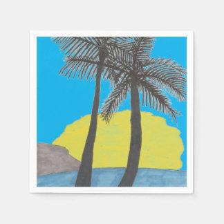 Palm Tree Sunrise Silhouette Paper Napkin