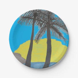 Palm Tree Sunrise Silhouette Paper Plate