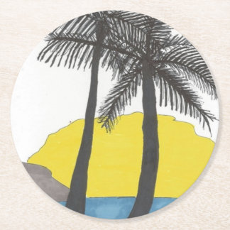 Palm Tree Sunrise Silhouette Round Paper Coaster