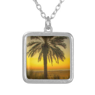 Palm Tree Sunrise Silver Plated Necklace