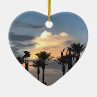 Palm Tree Sunset Ceramic Ornament