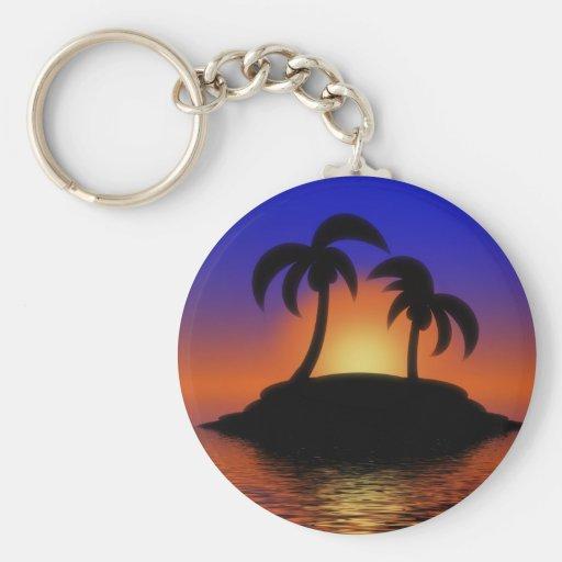 Palm Tree Sunset Key Chains