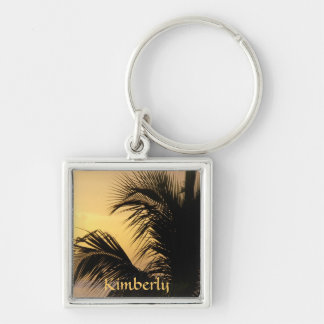 Palm Tree Sunset keyring Silver-Colored Square Keychain