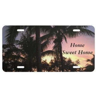 Palm Tree Sunset License Plate