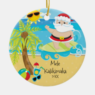Palm Tree Surfing Santa Hawaiian Christmas Round Ceramic Ornament
