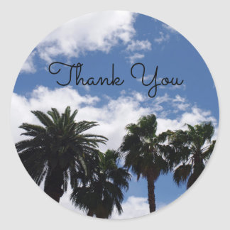 Palm Tree Thank You Classic Round Sticker