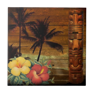 Palm Tree totem tropical Floral hibiscus Hawaiian Tile