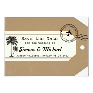 Palm Tree travel theme Luggage Tag Save the Date Card