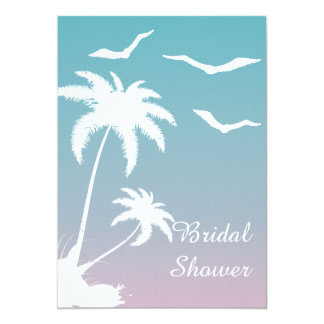 Palm tree tropical beach wedding bridal shower personalized announcement