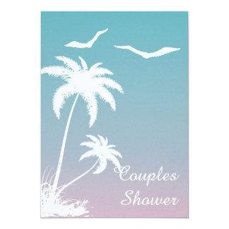 Palm tree tropical beach wedding couples shower custom invites